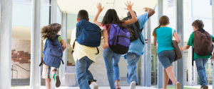 kids in hallway jumping