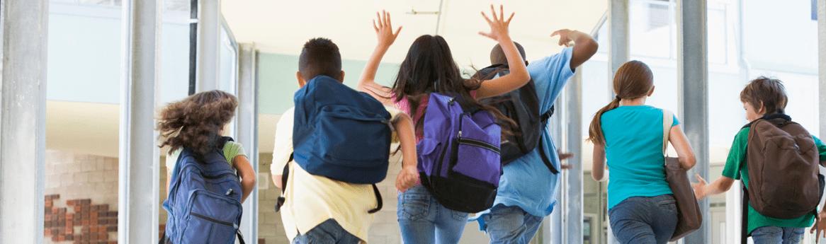 kids in hallway jumping